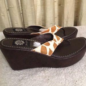 Yellow Box Wedge Thong Sandals Sz 6